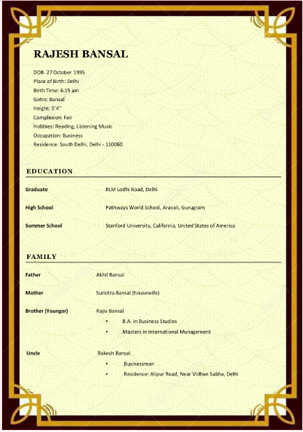 Bio12 creative premium marriage biodata with modern design template